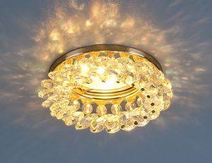 Светильник точечный с хрусталем 206 MR16 GD/Color золото/перламутр