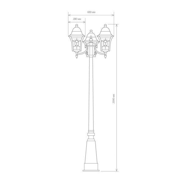 уличный трехрожковый светильник на столбе Altair F/3 черное золото 3