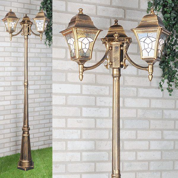 уличный трехрожковый светильник на столбе Altair F/3 черное золото 1