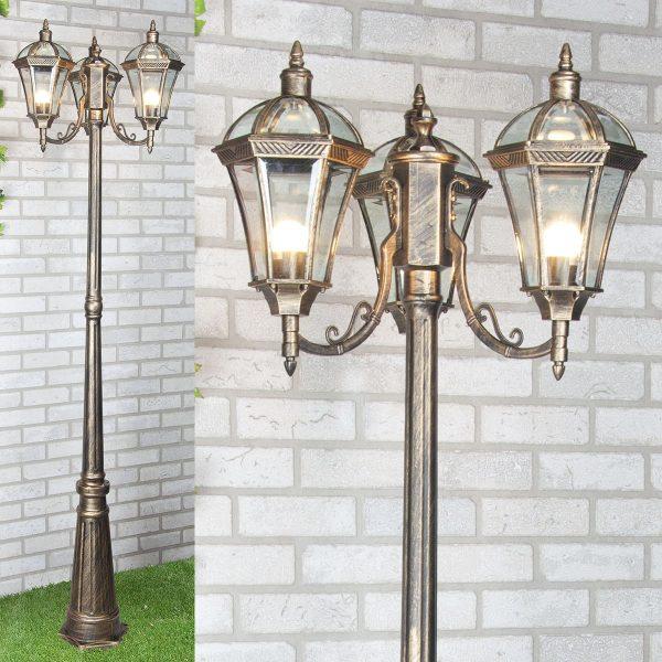 уличный трехрожковый светильник на столбе Capella F/3 черное золото 1