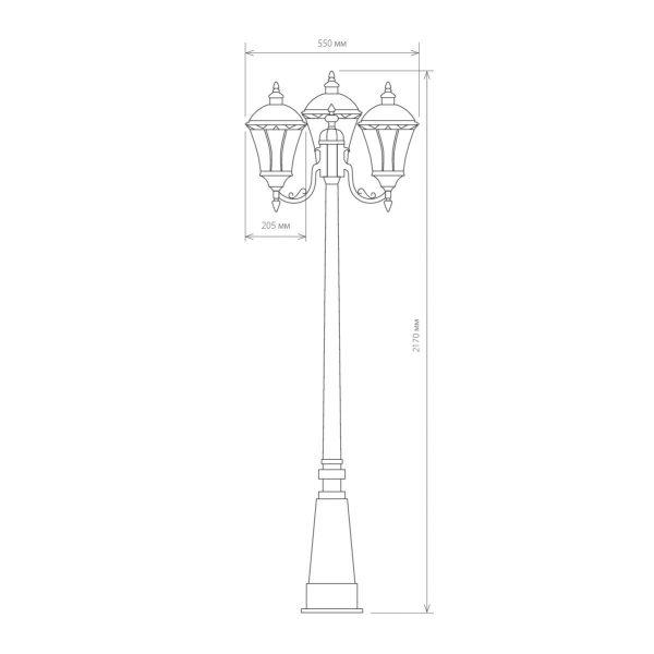 уличный трехрожковый светильник на столбе Capella F/3 черное золото 3