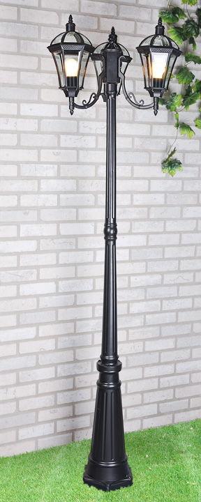 уличный трехрожковый светильник на столбе Capella F/3 черный