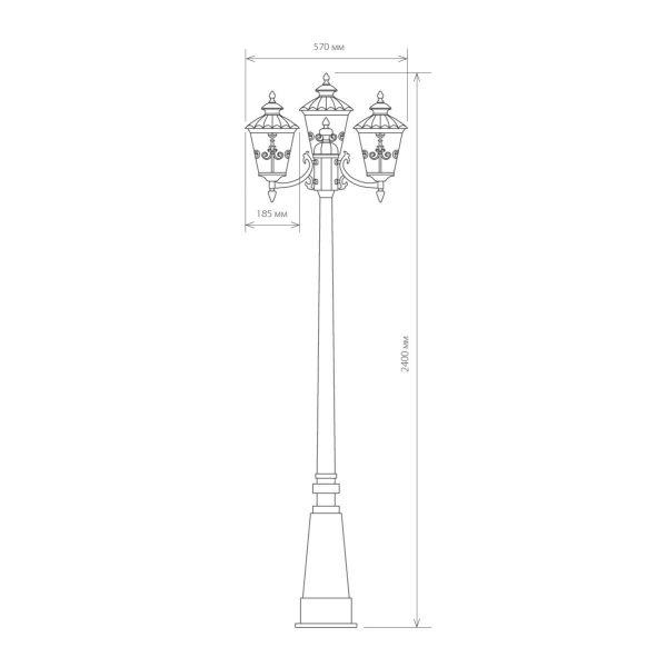 Diadema F/3 черное золото уличный трехрожковый светильник на столбе GLYF-8046F/3 3