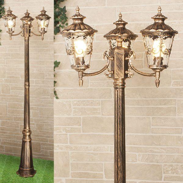 Diadema F/3 черное золото уличный трехрожковый светильник на столбе GLYF-8046F/3 1