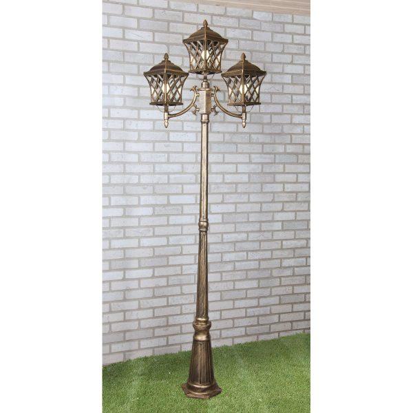 уличный трехрожковый светильник на столбе Cassiopeya F/3 черное золото 3