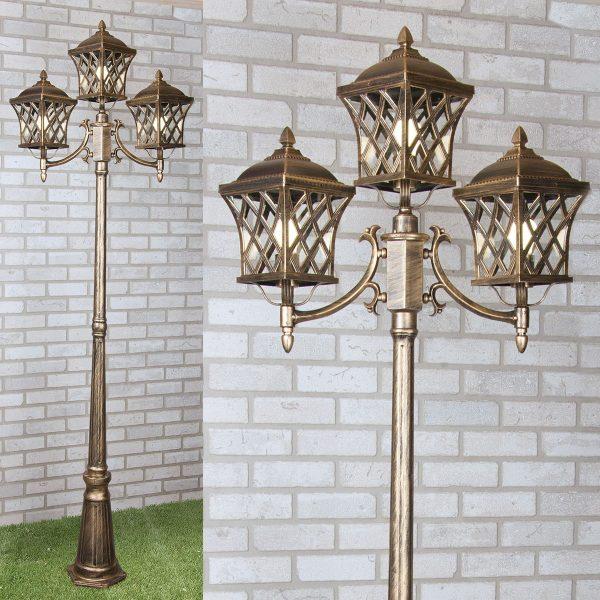 уличный трехрожковый светильник на столбе Cassiopeya F/3 черное золото 1