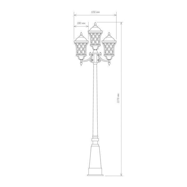 уличный трехрожковый светильник на столбе Cassiopeya F/3 черное золото 4