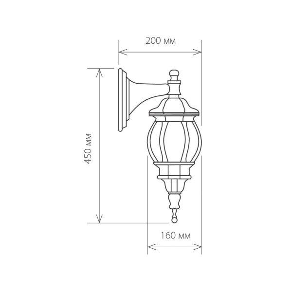 уличный настенный светильник GL 1001D черное золото 1