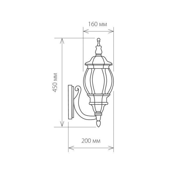 уличный настенный светильник GL 1001U черное золото 1