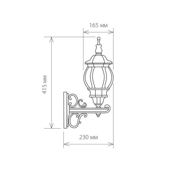 уличный настенный светильник GL 1011U черное золото 1