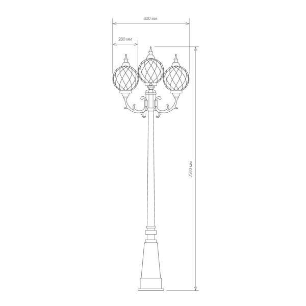 Уличный трехрожковый светильник на столбе Sirius F/3 черное золото 4