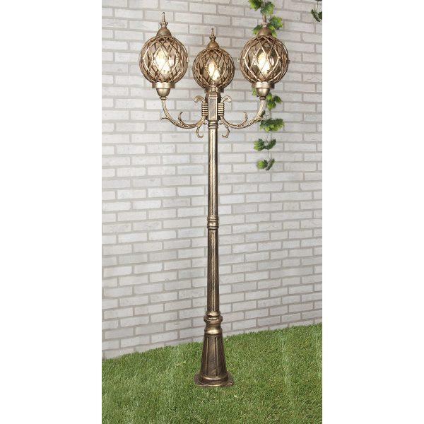 Уличный трехрожковый светильник на столбе Sirius F/3 черное золото 3