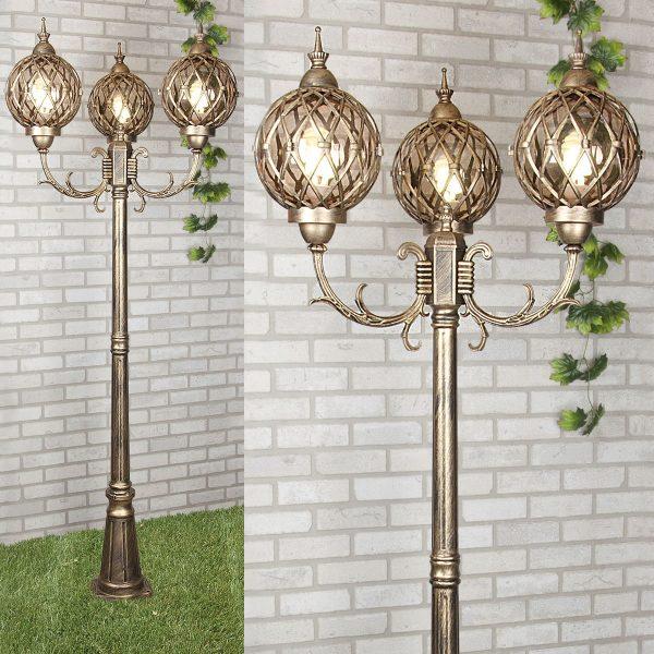 Уличный трехрожковый светильник на столбе Sirius F/3 черное золото 1