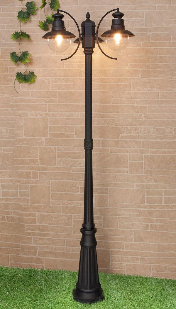 Talli F/3 черный уличный трехрожковый светильник на столбе GL 3002F/3