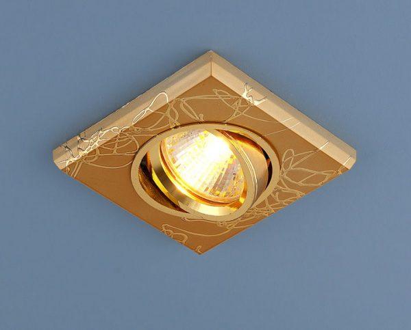 Точечный светильник квадратный 2080 MR16 GD золото