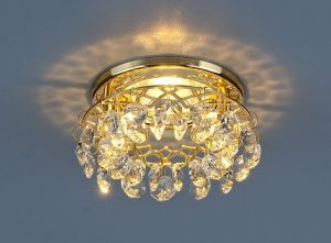 Точечный светильник с хрусталем 7070 MR16 GD/СL золото/прозрачный