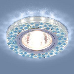 Встраиваемый точечный светильник с LED подсветкой 2194 MR16 SL/BL зеркальный/голубой