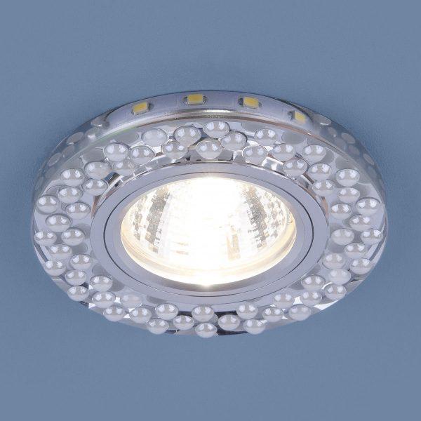Встраиваемый точечный светильник с LED подсветкой 2194 MR16 SL/WH зеркальный/белый 1