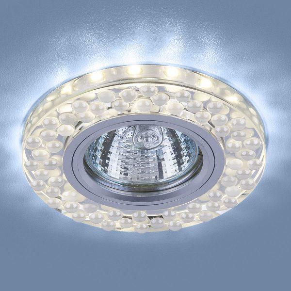 Встраиваемый точечный светильник с LED подсветкой 2194 MR16 SL/WH зеркальный/белый 2