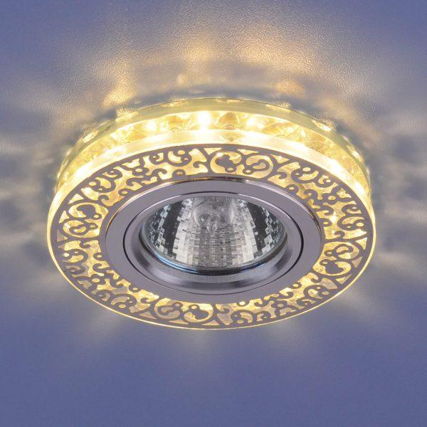 Точечный светодиодный светильник с хрусталем 6034 MR16 CH/CL хром/прозрачный 1