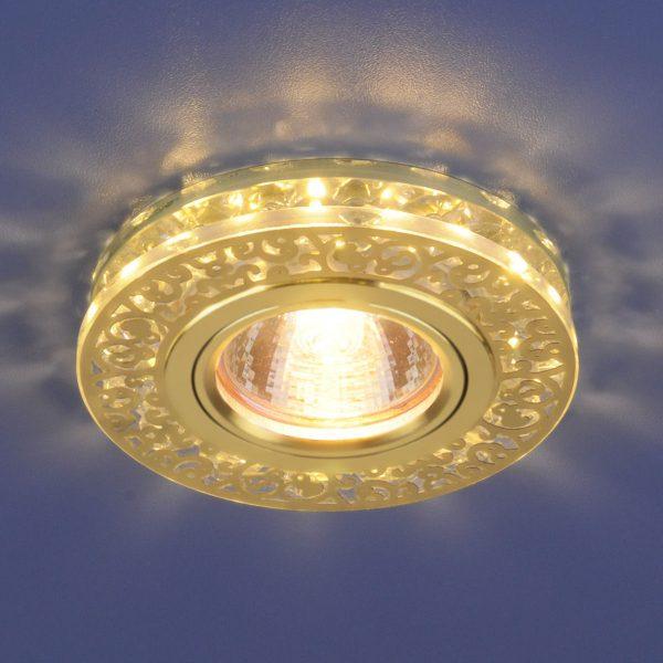 Точечный светодиодный светильник с хрусталем 6034 MR16 GD/CL золото/прозрачный 2