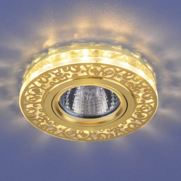Точечный светодиодный светильник с хрусталем 6034 MR16 GD/CL золото/прозрачный 1