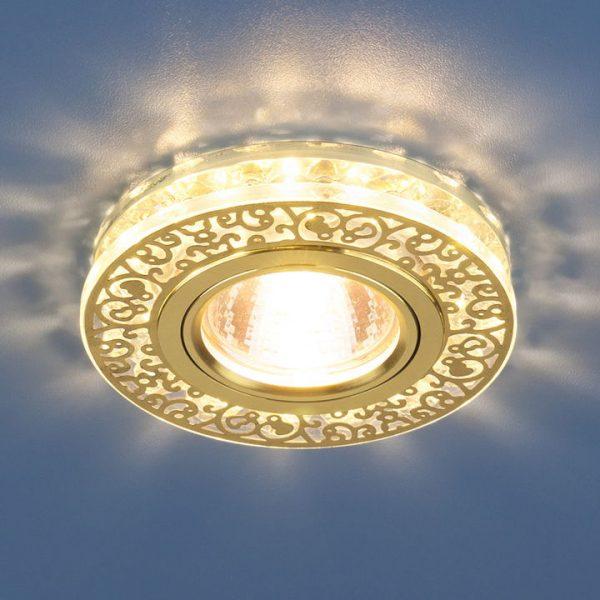 Точечный светодиодный светильник с хрусталем 6034 MR16 GD/CL золото/прозрачный