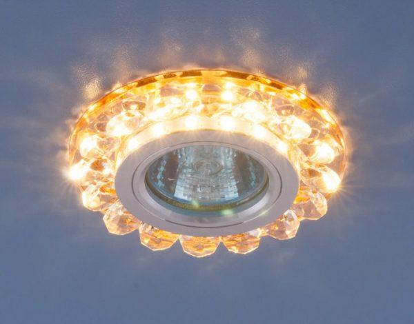Точечный светодиодный светильник с хрусталем 6036 MR16 GD золото 1