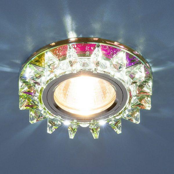 Точечный светодиодный светильник с хрусталем 6037 MR16 MLT мульти/хром