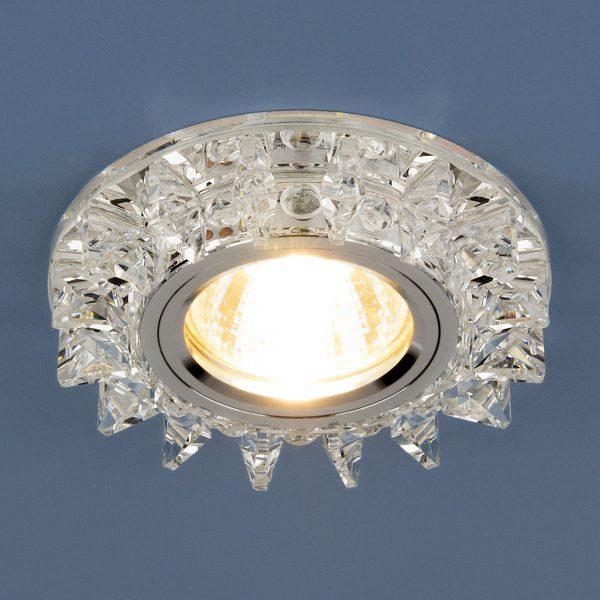 Точечный светодиодный светильник с хрусталем 6037 MR16 SL зеркальный/серебро 2