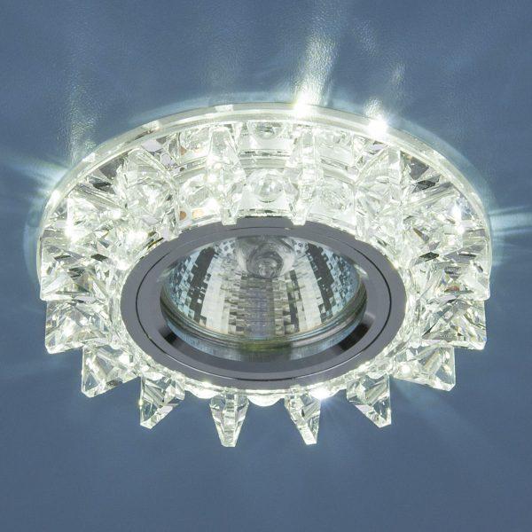 Точечный светодиодный светильник с хрусталем 6037 MR16 SL зеркальный/серебро 1