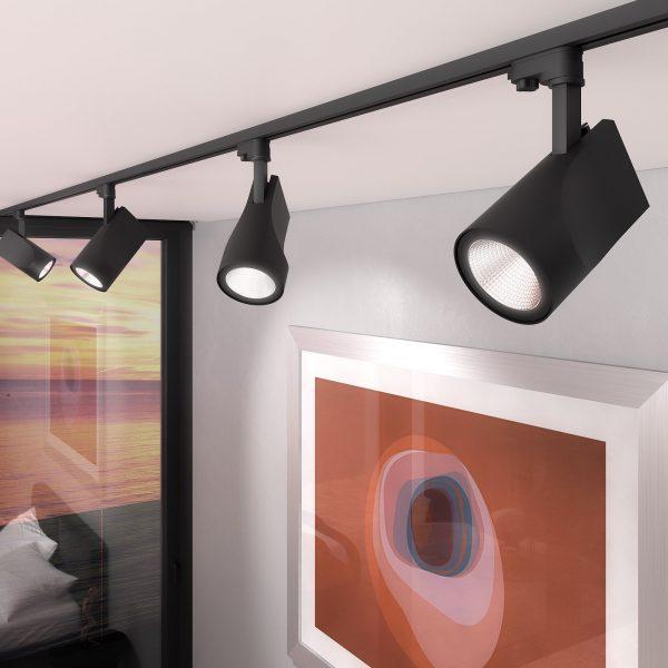 Трековый светодиодный светильник для трехфазного шинопровода Vista Черный 32W 2