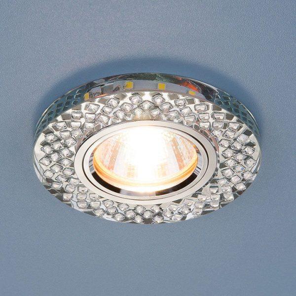 Встраиваемый потолочный светильник со светодиодной подсветкой 2140 MR16 SL зеркальный/серебро 2