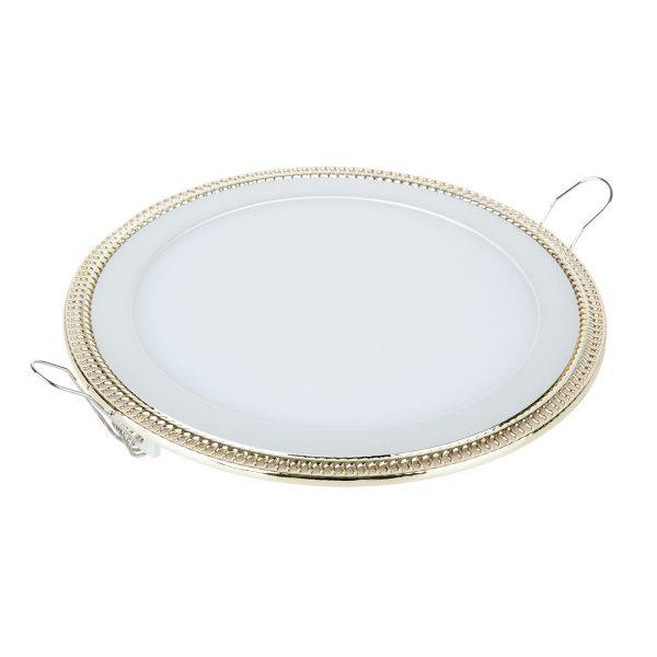 Встраиваемый потолочный светодиодный светильник DLR006 12W 4200K PS/G перламутровый серебро/золото 1