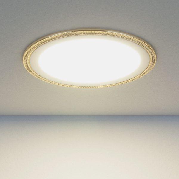 Встраиваемый потолочный светодиодный светильник DLR006 12W 4200K PS/G перламутровый серебро/золото