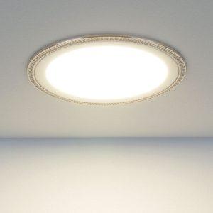 Встраиваемый потолочный светодиодный светильник DLR006 12W 4200K PS/N перламутровый серебро/никель