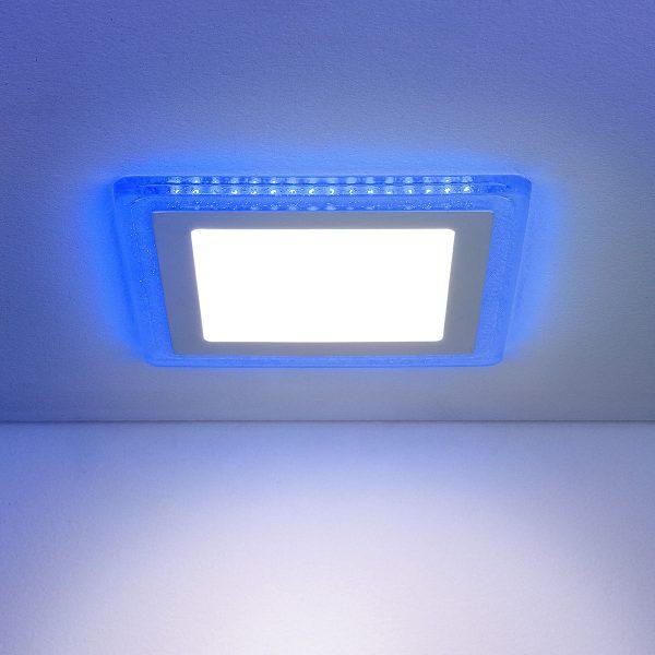 Встраиваемый потолочный светодиодный светильник DLS024 7+3W 4200K Blue