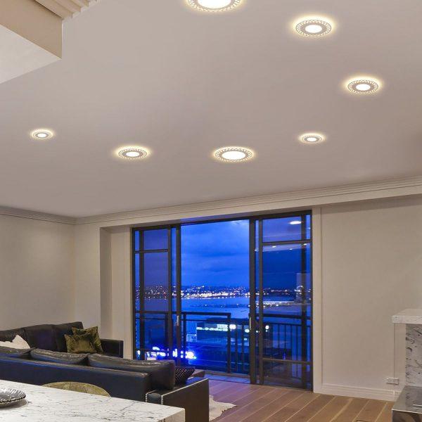 Встраиваемый потолочный светодиодный светильник DSS003 7+3W 4200K 6