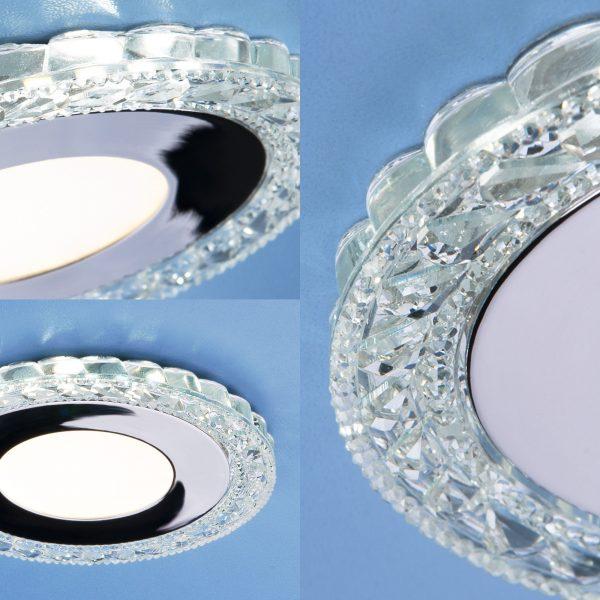 Встраиваемый светодиодный потолочный светильник с LED подсветкой 9909 LED 8W CL прозрачный 1