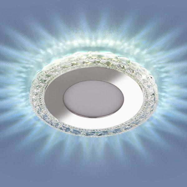 Встраиваемый светодиодный потолочный светильник с LED подсветкой 9909 LED 8W CL прозрачный 4