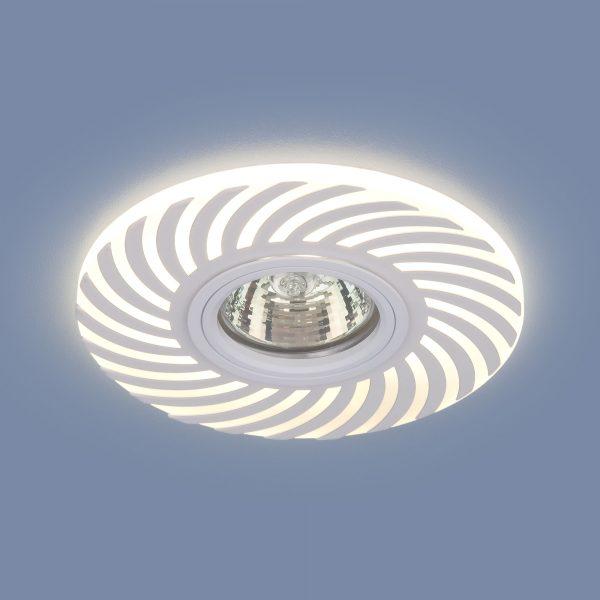 Встраиваемый точечный светильник с LED подсветкой 2215 MR16 WH белый 1