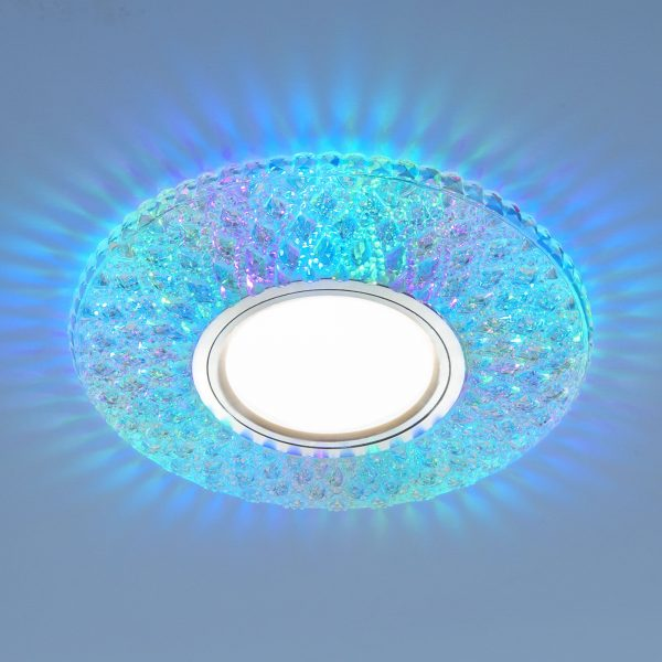 Встраиваемый точечный светильник с LED подсветкой 2220 MR16 CL прозрачный подсветка мульти 1