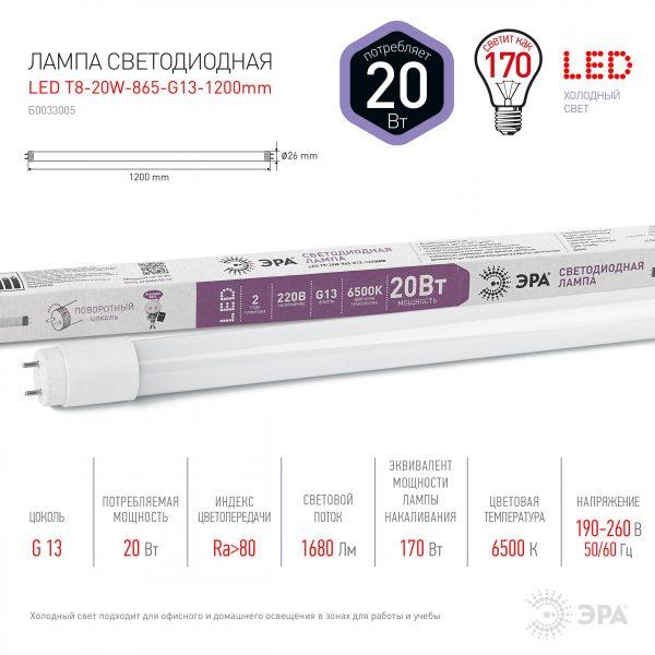 Светодиодная (LED) Лампа ЭРА LED T8/G13 TUBE 6500 K (поворотный цоколь) 1