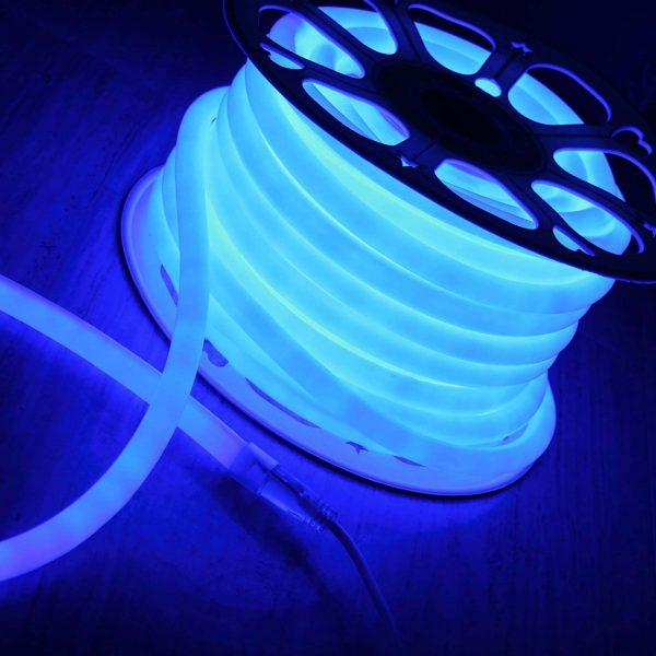 Светодиодный гибкий неон LS003 220V 9.6W 144Led 2835 IP67 круглый синий 6500К 1