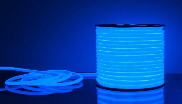 Светодиодный гибкий неон LS003 220V 9.6W 144Led 2835 IP67 круглый синий 6500К 3