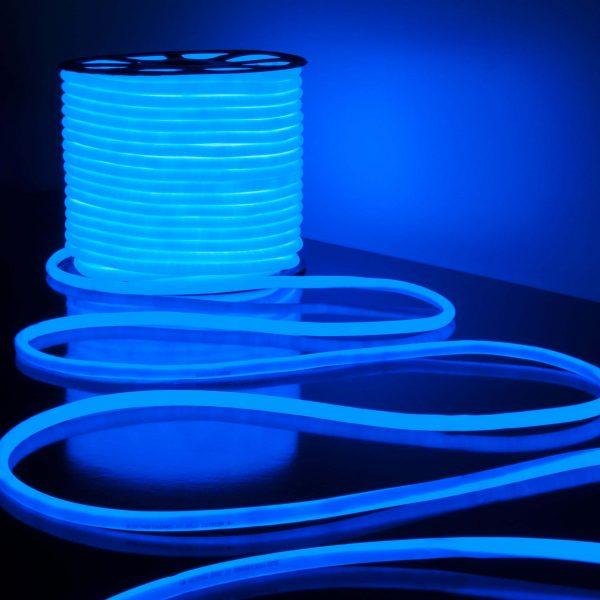 Светодиодный гибкий неон LS003 220V 9.6W 144Led 2835 IP67 круглый синий 6500К 7