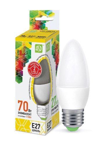 Лампа светодиодн. LED-свеча-standart 7,5Вт 160-2600В Е27 3000K 675лм