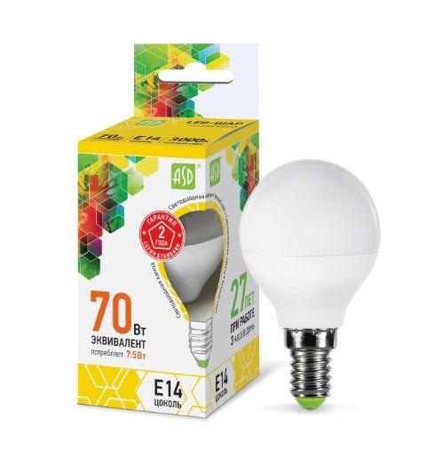 Лампа светодиодная LED-ШАР-standard 7.5Вт 230В Е14 3000К 675Лм ASD