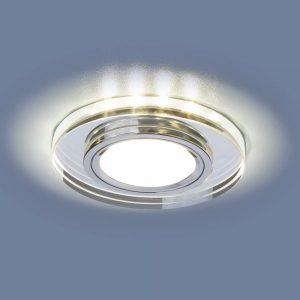 Купить встраиваемый потолочный светильник со светодиодной подсветкой 2227 MR16 SL зеркальный/серебро