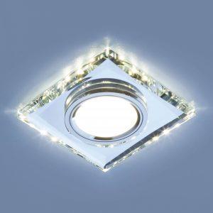 Купить встраиваемый потолочный светильник со светодиодной подсветкой 2230 MR16 SL зеркальный/серебро